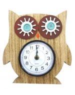 Reloj Buho de Madera x 4 Unds. Medida: 21 x 21 cm Aprox.