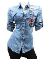 Camisa Dama Mezclilla Manga Larga x3 Unds Talla: S/M L/XL