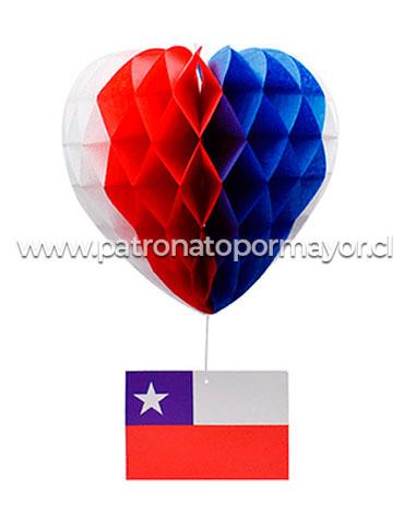 Corazón  de Papel Con Bandera De Chile x 12 Unds.Medida : 20 CM