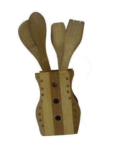 Set Porta Cucharas de Madera con Diseño x4 Set.