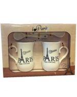 4 Set de Taza de Loza con Cuchara Diseño París