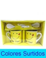 6 Set de Mini Taza de Loza con Cuchara  Medidas: 4 x 4 x 5 cm aprox.