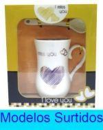 Taza de Loza con Cuchara x 4 Unid.  Medidas: 3 x 3 x 8 cm aprox.