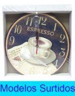 Reloj de Madera x 4 Unds. Medida: 32 x 32 cm.