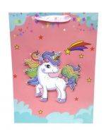 Bolsa de Regalo Unicornio 3D x 12 Unds. Medida: 40 x 30 cm.