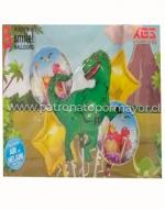 6 Set Globo Metálico Dinosaurio T-Rex