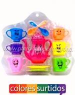 x6 Set Tazas de Colores con Caritas